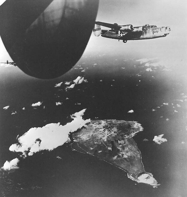 B-24_Liberators_after_attacking_Iwo_Jima_15_December_1944