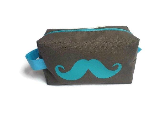 Trousse_toilette_Homme_Ado_grise_et_moustache_turquoise_1
