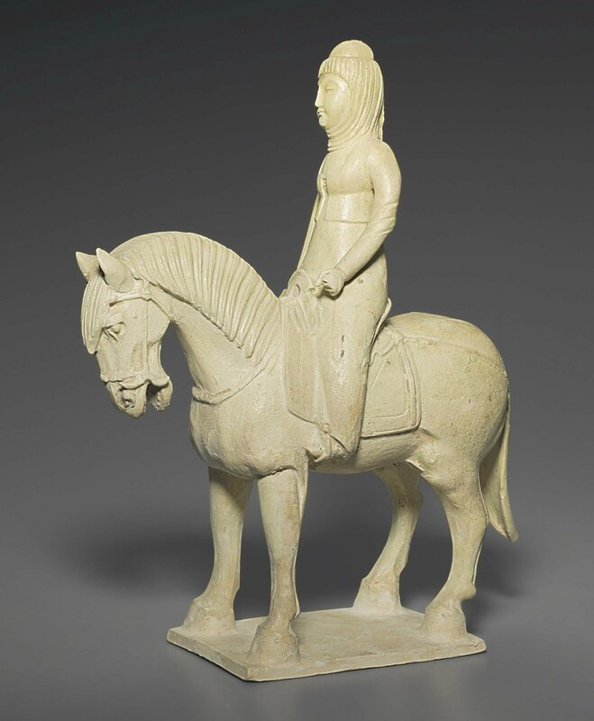 A straw-glazed pottery figure of a female equestrienne, Sui dynasty (AD 581-618)