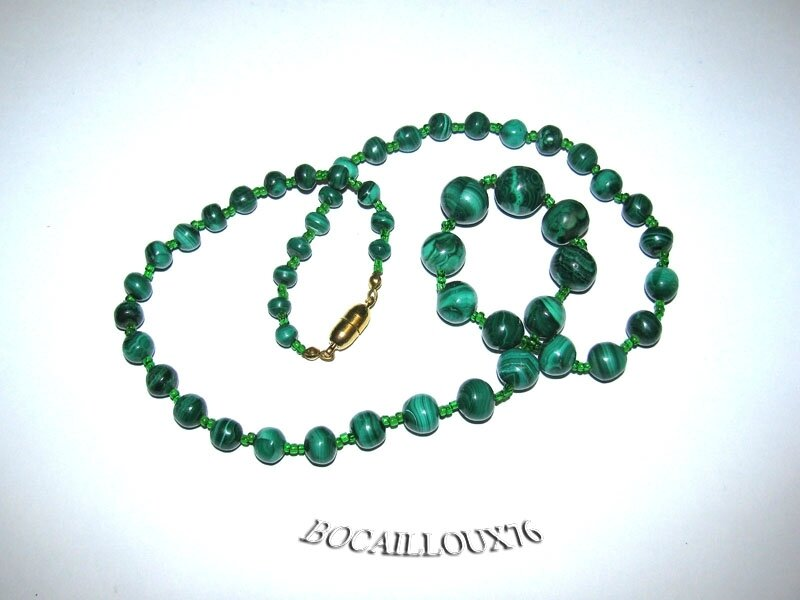 Collier MALACHITE 10 Perles (4)
