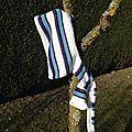 Capucharpe blanche et bleue pour l'hiver