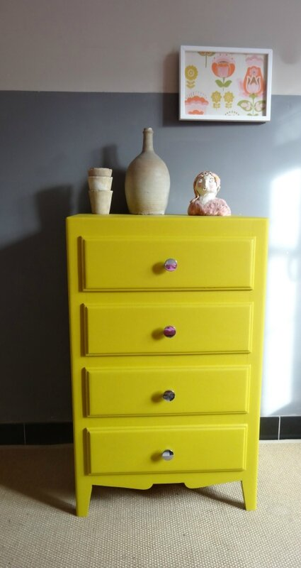 Mini commode annees 60 MOUTARDE