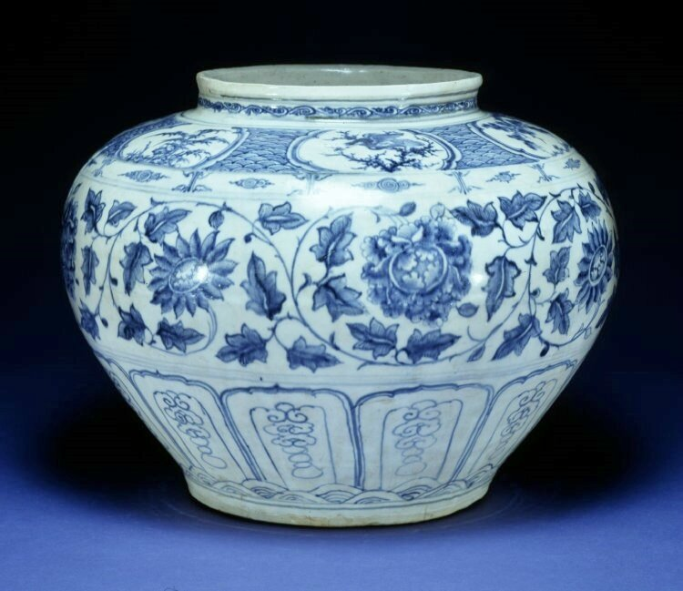 Jar decorated with peonies and chrysanthemums and lotus scrolls. Made of blue underglaze pottery. Red River Delta, northern Vietnam, 15thC, stoneware. Height: 28.5 centimetres. Diameter: 37 centimetres. Found in Indonesia,Java. Purchased from Bluett & Sons