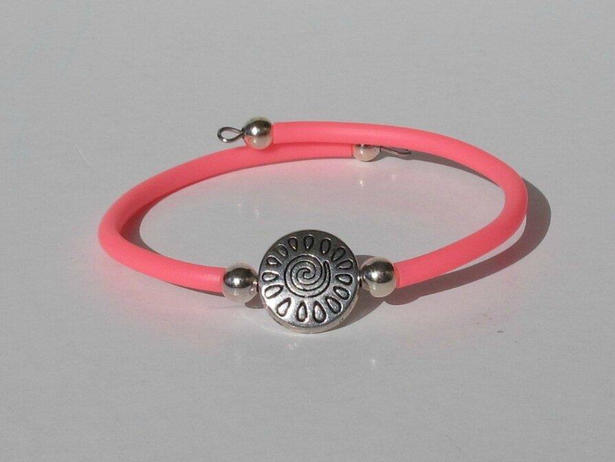 bracelet soleil buna cord rose et fil mémoire