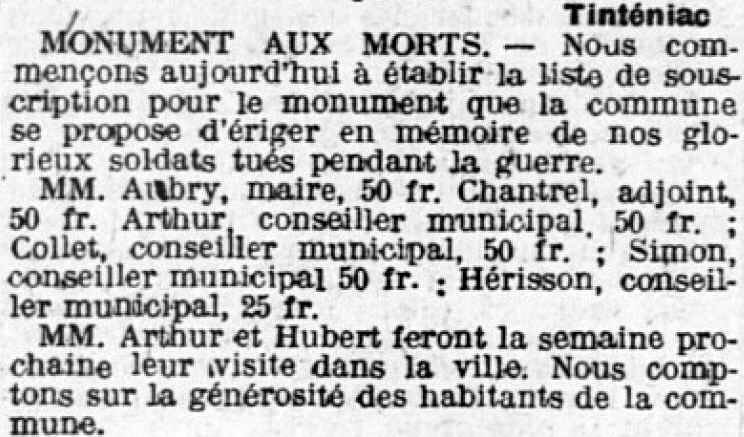 Monument aux morts tintiniac 19 07 1920