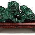 Chinese carved malachite fu-lion grouping