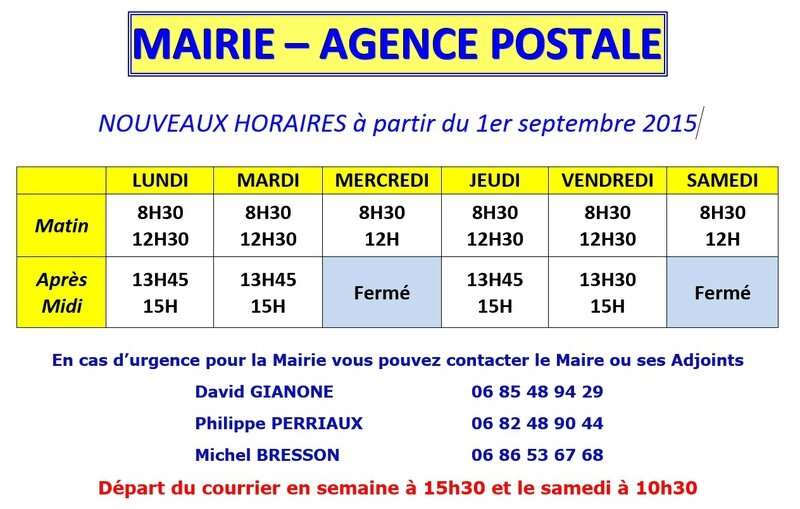 Horaires mairie 2015
