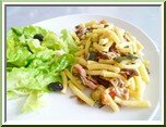 0350- macaronis aux lardons et légumes