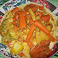 Couscous marocain d'orge au poulet et au 7 légumes