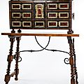 Cabinet with table, in walnut, decorated with ivory plaques pyrography, tortoiseshell and brass. italy. 17th century