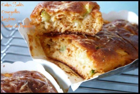 """ღ """" Miam """" Minis Cakes Apéro { Courgettes -Lardons - Caviar de Tomates }"""