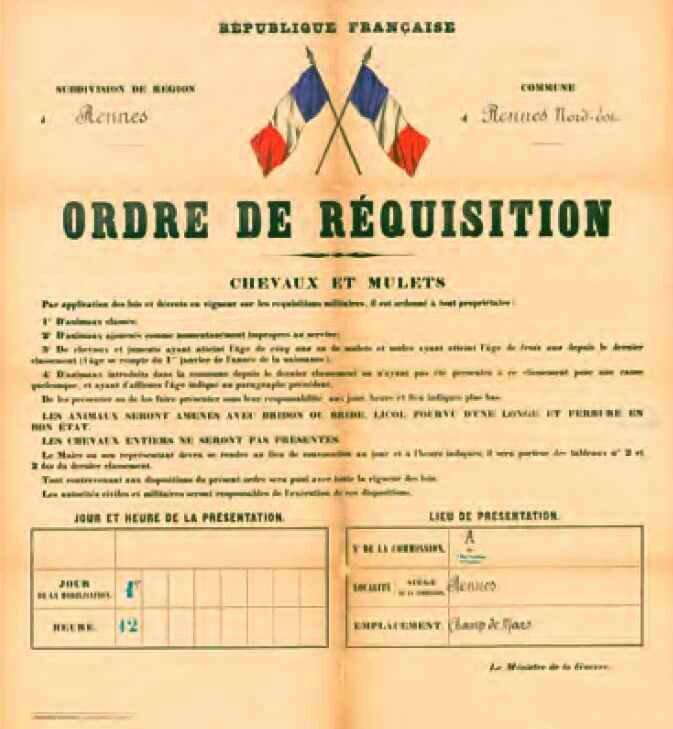 Ordre de mobilidsation Chevaux