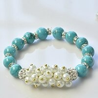 How to Make a Simple Beaded Bracelet with Turquoise Beads and Pearl Beads 6