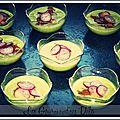 Velouté d'asperges, crevettes & pamplemousses marinés au soja