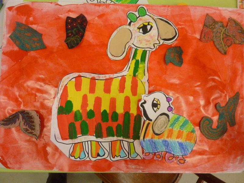peinture+tissu+laine+craie+feutre.... les contes de la mère poule