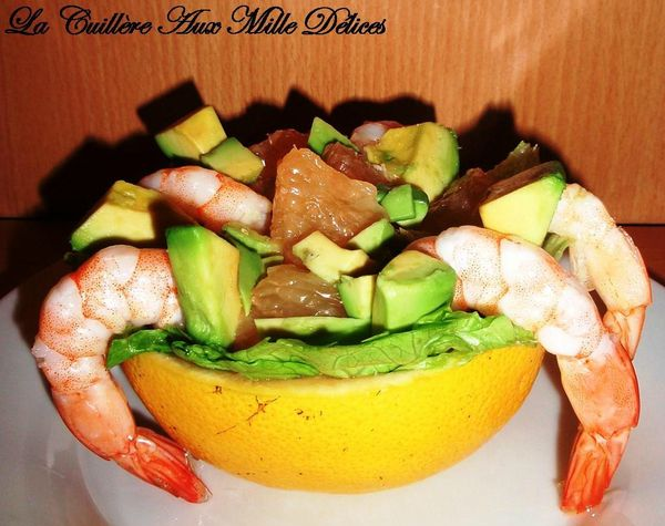 salade pamplemousse, avocat &amp; crevettes