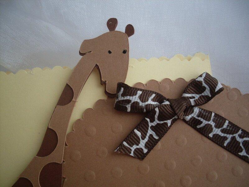 faire part carte de voeux félicitation naissance baptême babyshower thème safary jungle beige marron chocolat girafe singe5