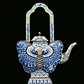 A canton enamelled metal teapot in the shape of a butterfly, china, qing dynasty, 19th century