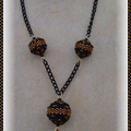 Collier BB or et noir