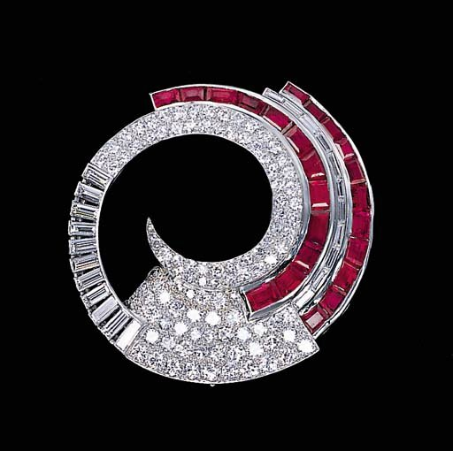 A ruby and diamond clip brooch, circa 1934