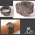 bracelet corolle gris argent fond spécial