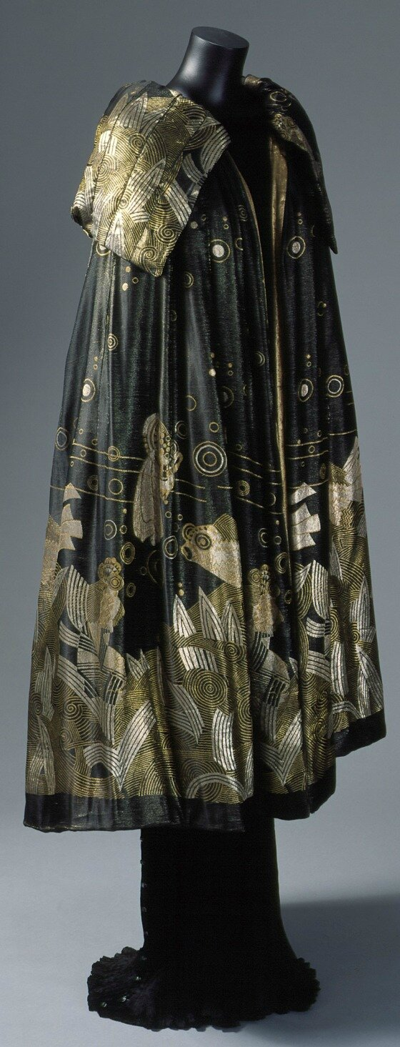 Evening Cape, House of Worth, Jacques Worth, Gold fish design by Jean Dunand, 1925