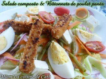 """ღ """" MIAM """" Petite salade composée & bâtonnets de poulets grillés"""
