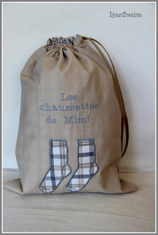 sac chaussettes beige