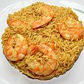 Riz pilaf et crevettes au curry