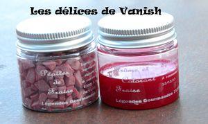 pépites de fraises, arôme et colorant liquide, flan