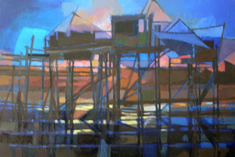 2005-La nuit sur la pêcherie-huile-73x50cm
