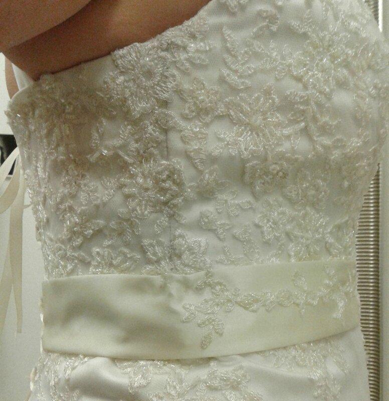 Retouche Robe de mariée Estelle côté bustier droit