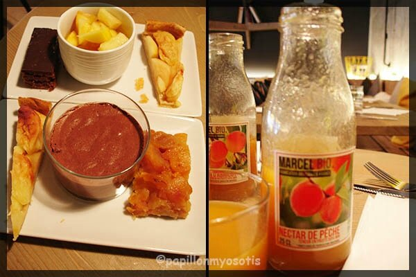 Assortiment de desserts & Jus de fruits Bio