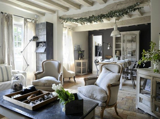 Inspirations shabby campagne chic briques et broc chez for Salon style campagne chic