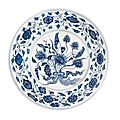 A blue and white 'lotus' dish. qing dynasty, 18th century