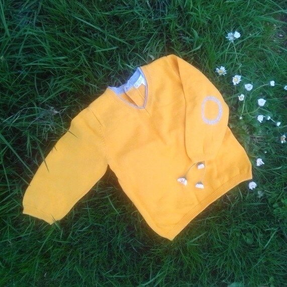 Pull col V, jaune moutarde, 9 mois.
