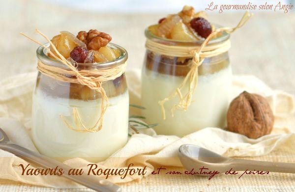 yaourt au fromage roquefort et chutney poires cranberries