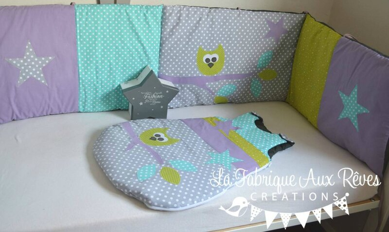 tour lit et gigoteuse hibou toiles turquoise cara be vert anis parme gris gigoteuse. Black Bedroom Furniture Sets. Home Design Ideas