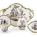 A fine Vienna porcelain djeuner with Chinoiserie, c. 1770. 