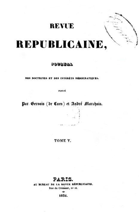 Revue républicaine tome V couv