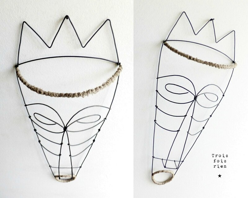 masque fil de fer N°1C, wire mask, fil de fer, wire, trois fois rien
