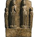 A finely carved double-bodhisattva marble stele, sui dynasty (581-618) , dated 608