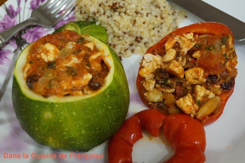 Courgettes rondes farcies au poulet et aux fruits secs dans la cuisine de fran oise - Courgette farcie thermomix ...