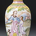 An imperial canton enamel 'european subject' snuff bottle, blue enamel mark and period of qianlong