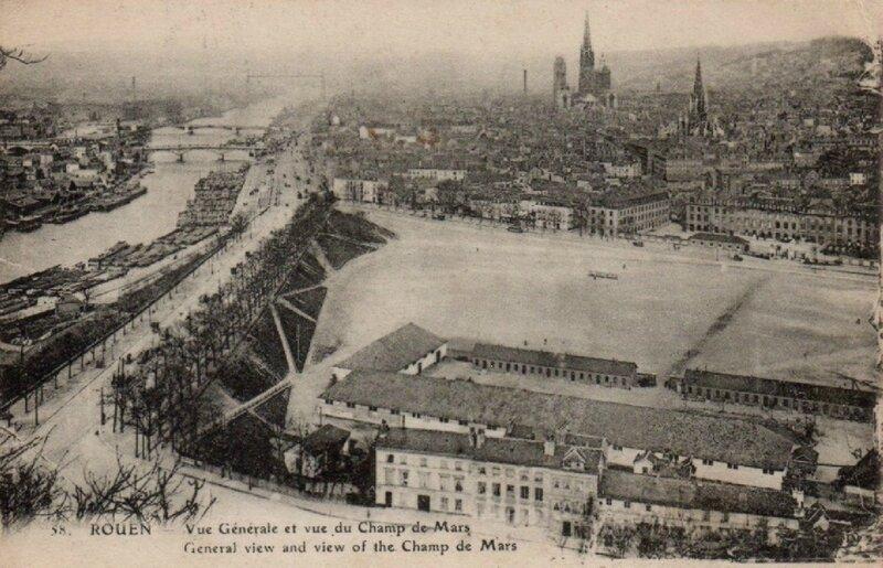 Rouen - Vue générale et vue du champ de Mars (carte-postale coll