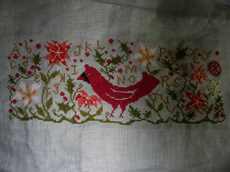 Cardinal et poinsetia, oiseau d'hiver