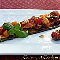 Comme une bruschetta : Aubergine frite & salsa de figues 