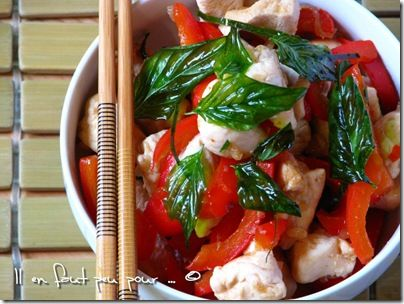 stir fried chicken with crispy basil