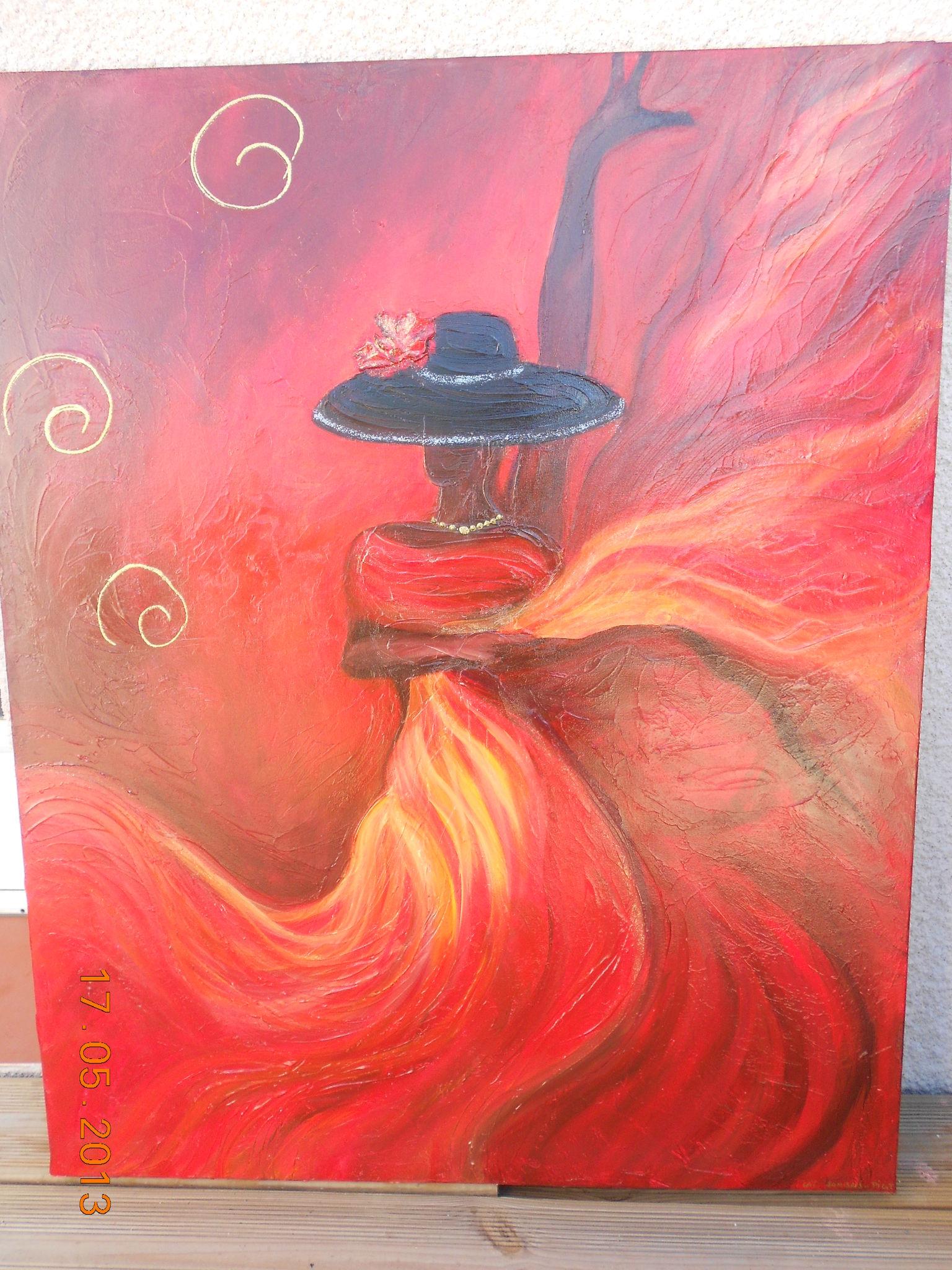 Danseuse de flamenco 001 photo de toiles en peinture acrylique de cat l 39 atelier des arts - Peinture glycero ou acrylique ...