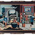 A chinese export reverse-painted mirror picture, circa 1820